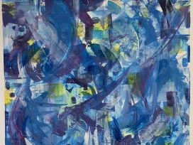 An abstract painting in shades of blue, yellow, and green.